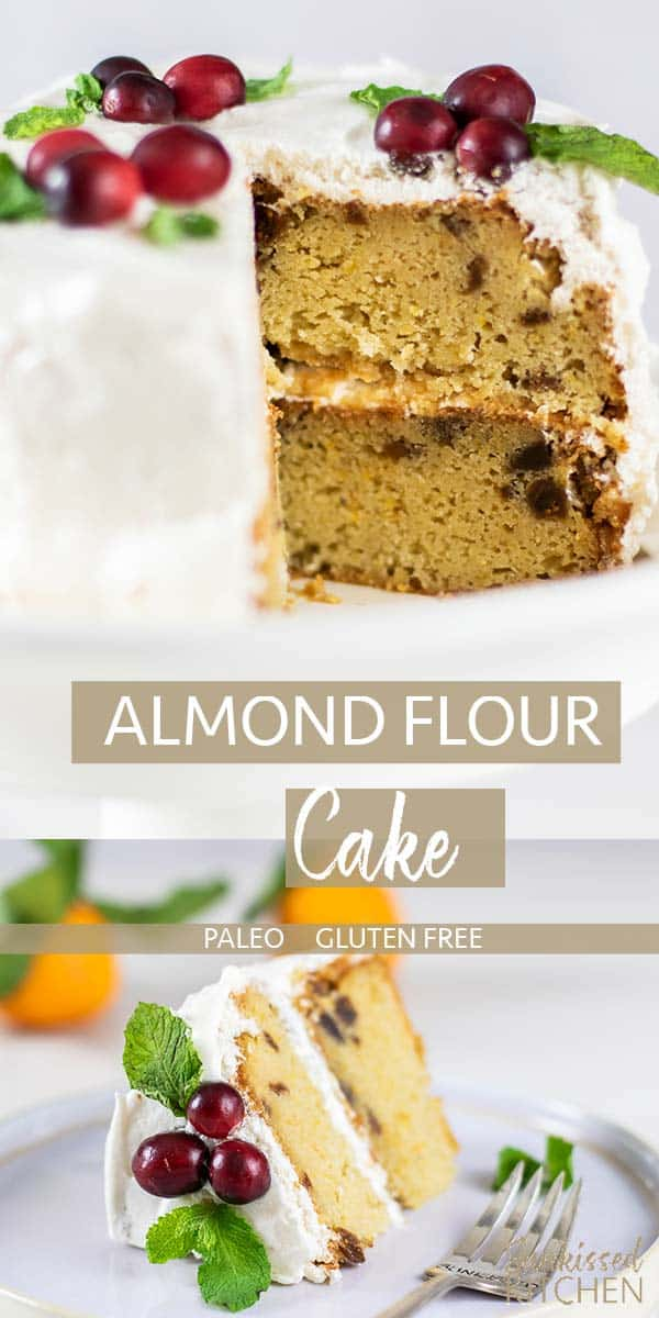Two images showing an almond flour cake cut, and served on a plate.