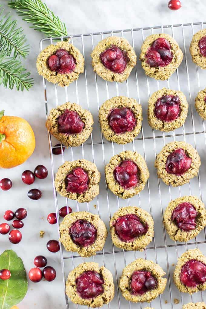 Baked cranberry breakfast cookies cooling on a rack.
