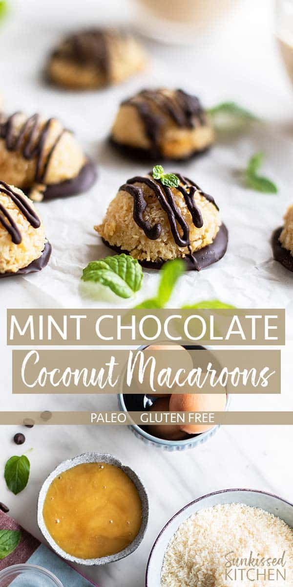 Easy coconut macaroons drizzled with dark chocolate.