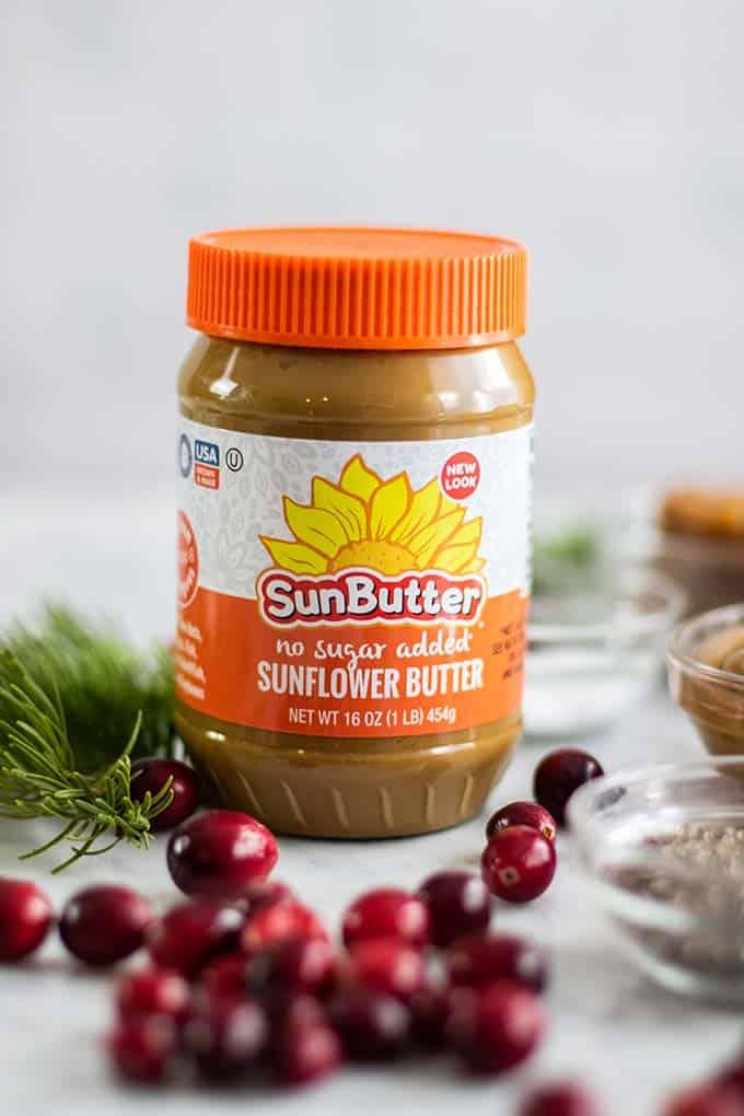 A jar of no sugar added Sunbutter.