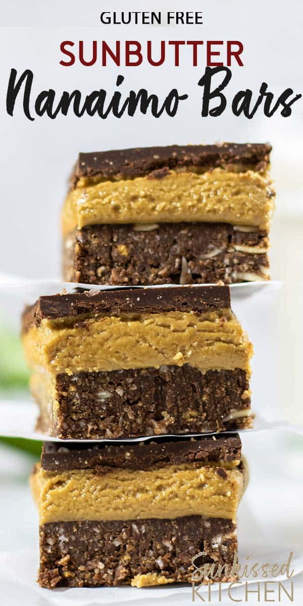 Three sunflower butter gluten free nanaimo bars stacked up.