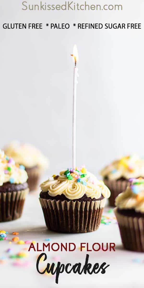 A close up of a gluten free chocolate cupcake.