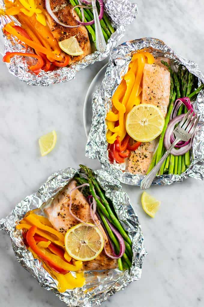 3 foil wrapped oven baked salmon packets/