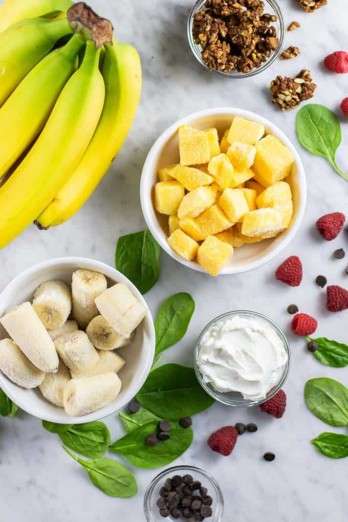 The ingredients for vegan green smoothie bowls.