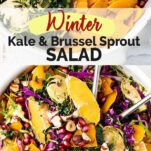 Two images showing all the ingredients in this salad, and a white salad bowl with a tossed kale salad.