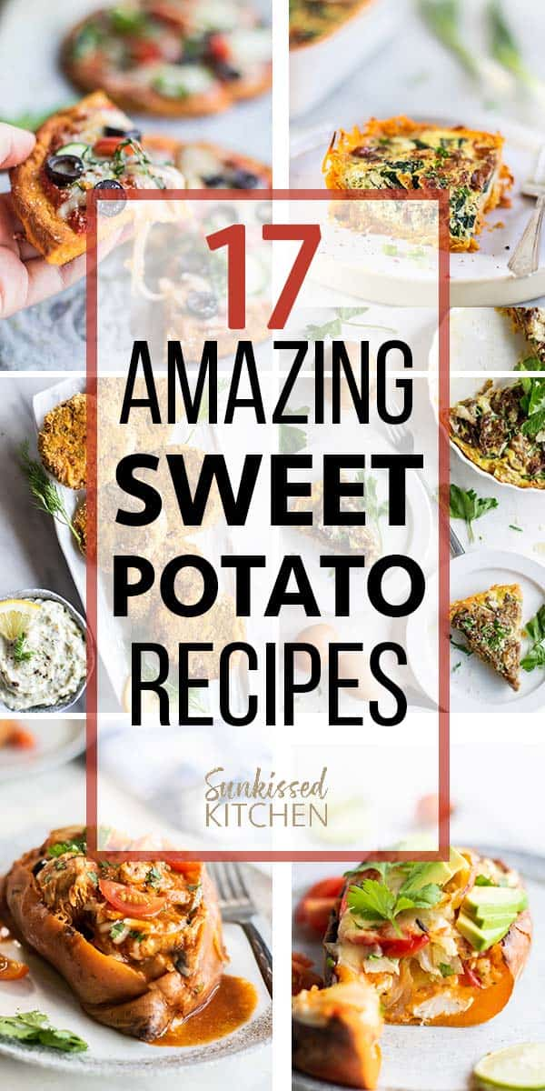 A graphic showing 6 healthy sweet potato recipes.