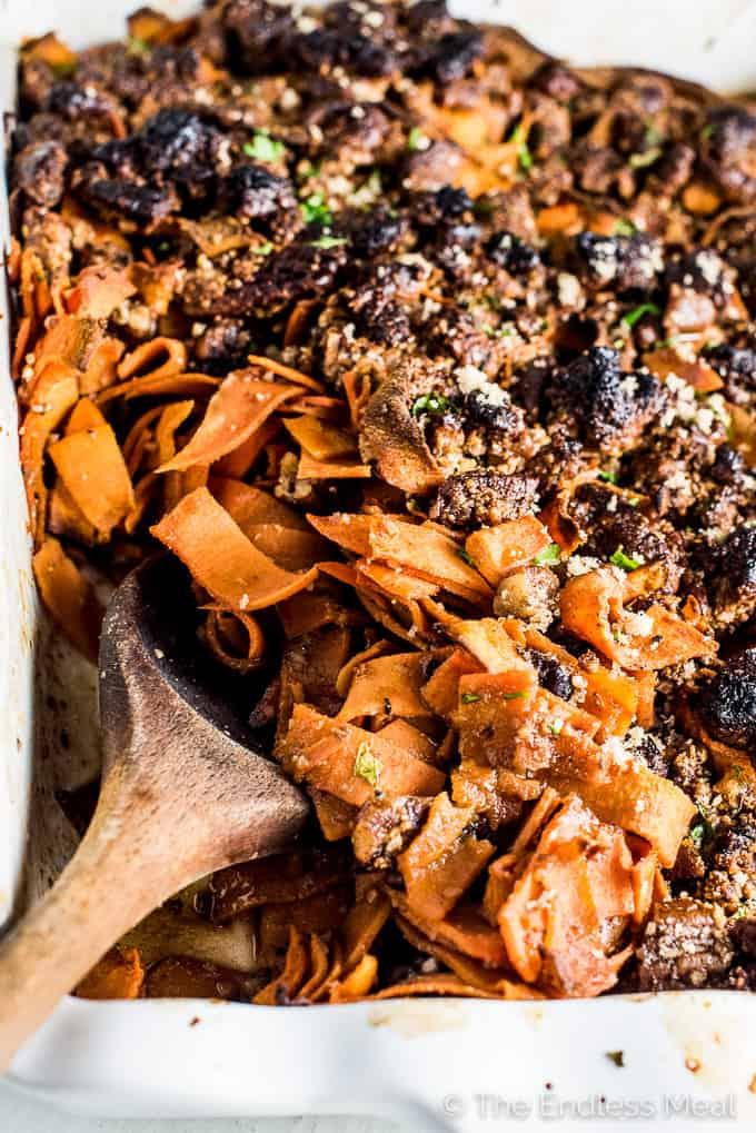 A healthy sweet potato recipe using sweet potato noodles and a crispy pecan crust.