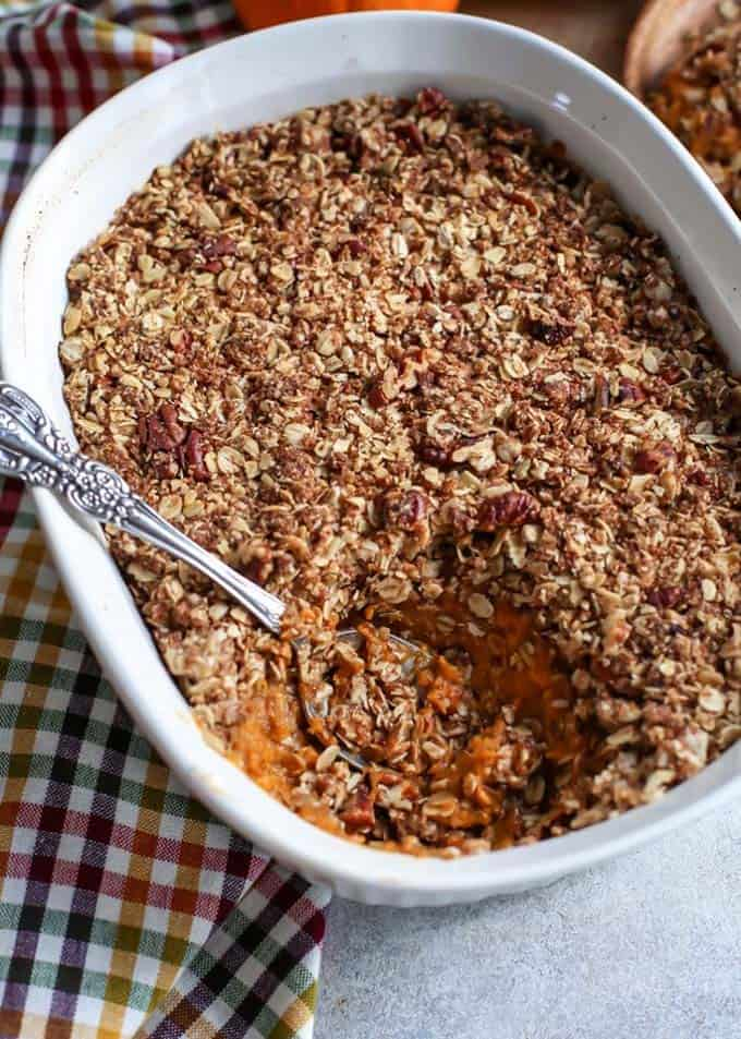 A healthy creamy sweet potato casserole.