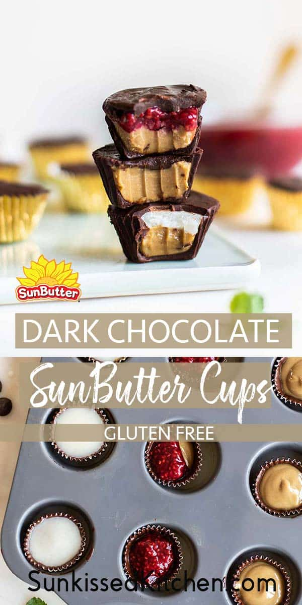 Stacks of SunButter Cups and a photo showing how to make SunButter cups.