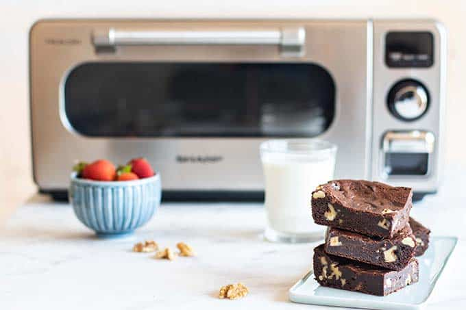 The Sharp Superheated Steam Countertop Oven with brownies stacked in front.