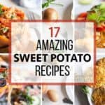 Images of several healthy sweet potato recipes that use sweet potatoes in creative ways.