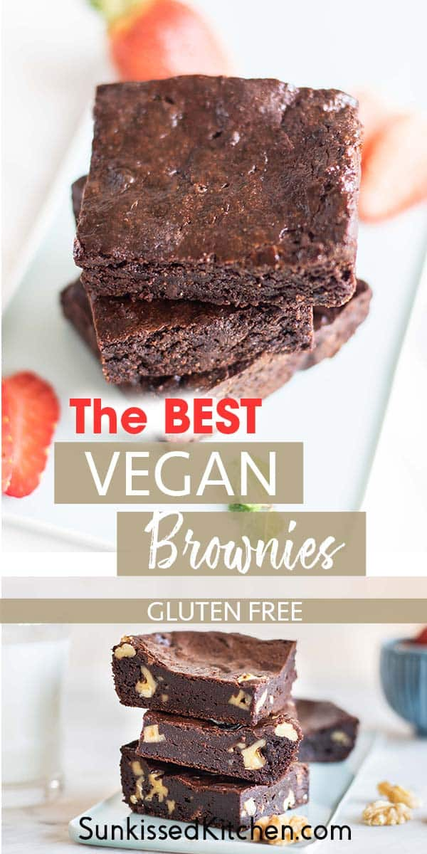 Two images showing vegan brownies with and without nuts.