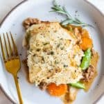 A slice of Whole30 Shepherds Pie shown on a plate.