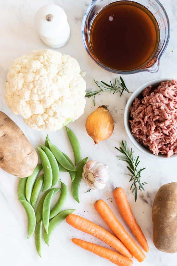 All of the ingredients needed for a healthy whole30 shepherds pie.