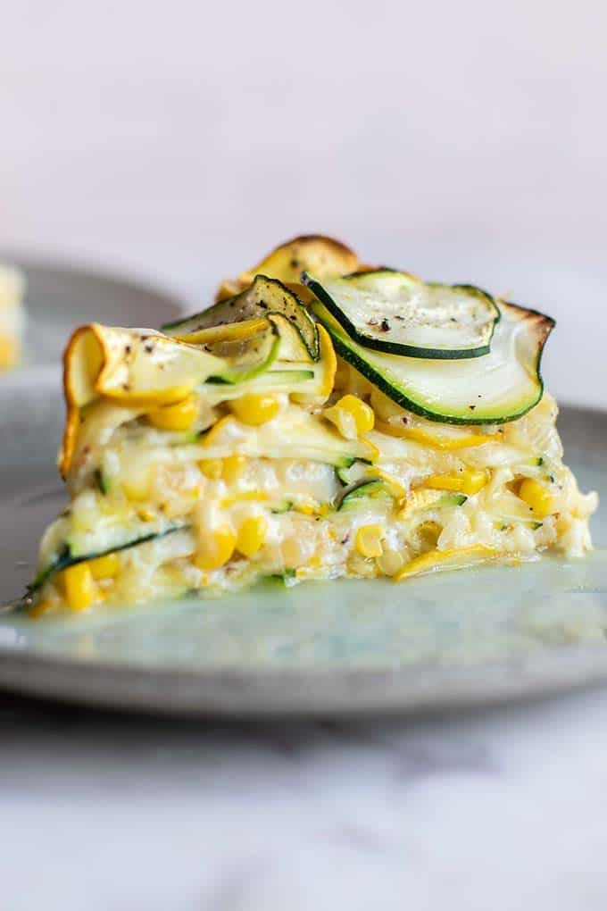 A close up shot of the layers in the sweet corn zucchini pie.