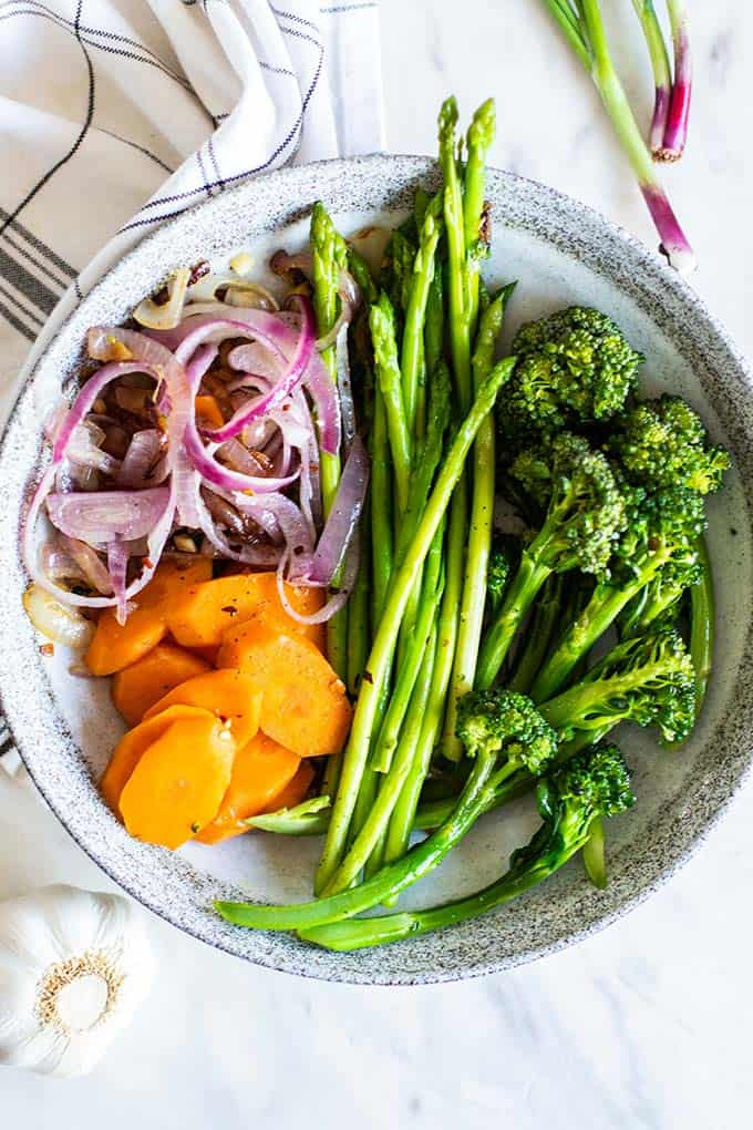Sauteed veggies on a plate.