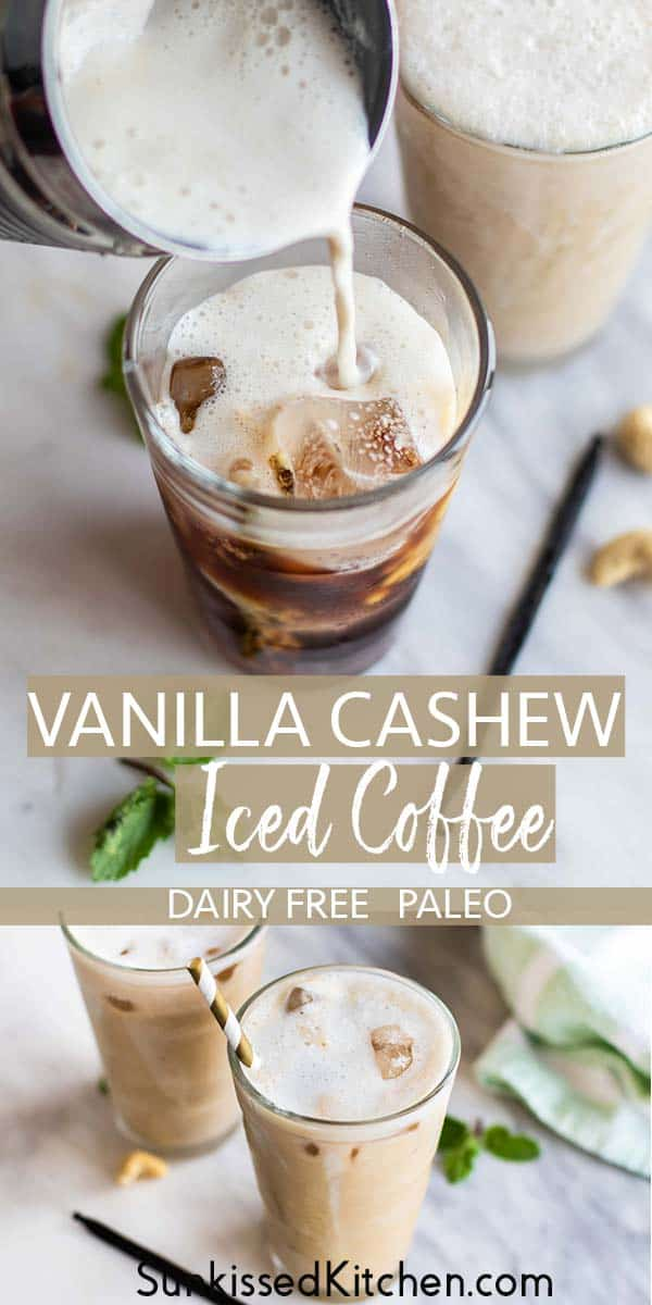 An iced vanilla coffee with homemade cashew milk being poured into it.
