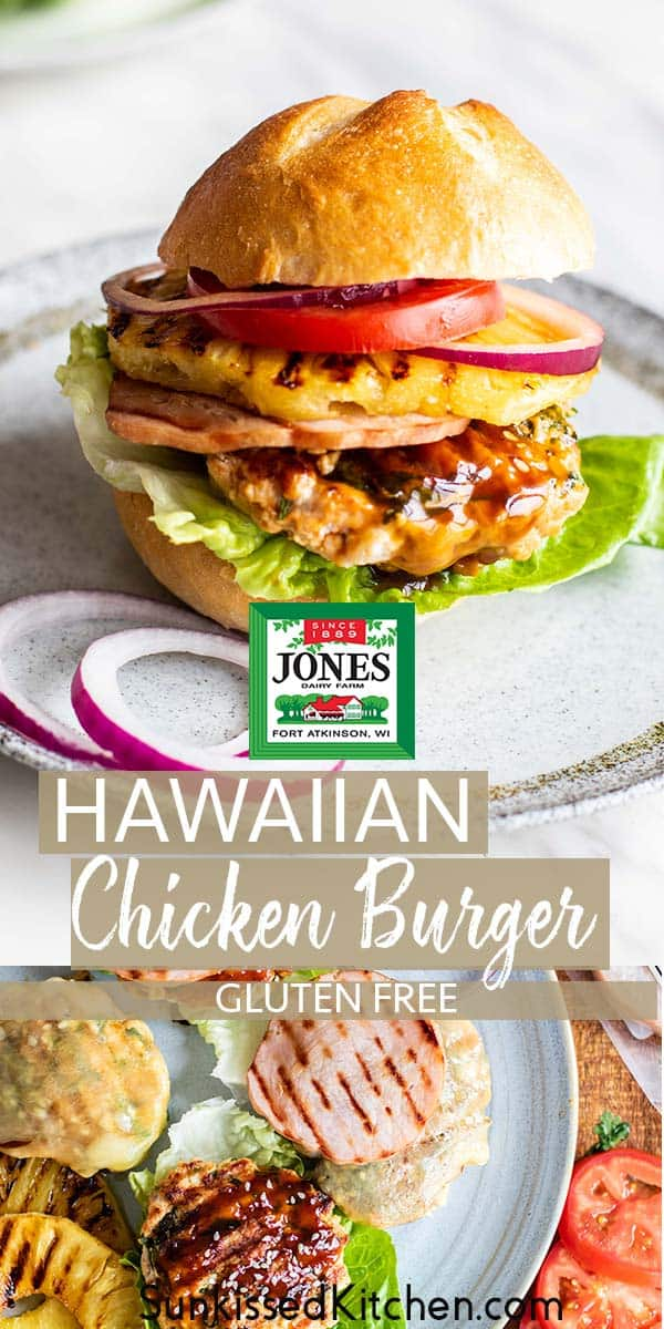Two images showing a teriyaki chicken burger on a bun, and a chicken burger on a lettuce wrap with grilled pineapple and Canadian bacon.