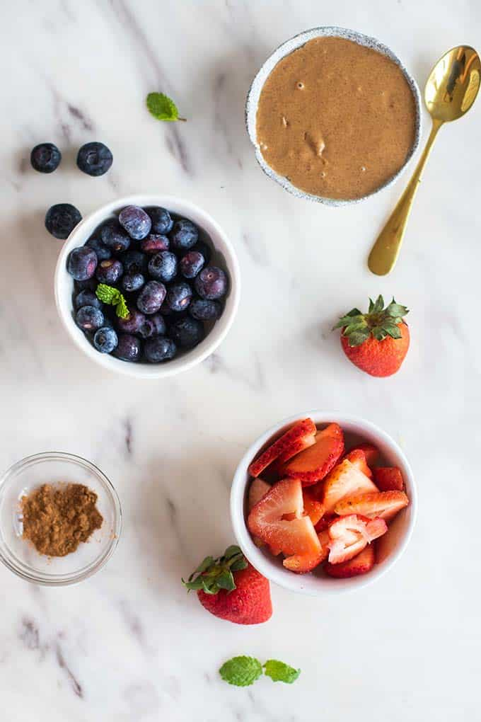 The ingredients for the berry almond butter filling.