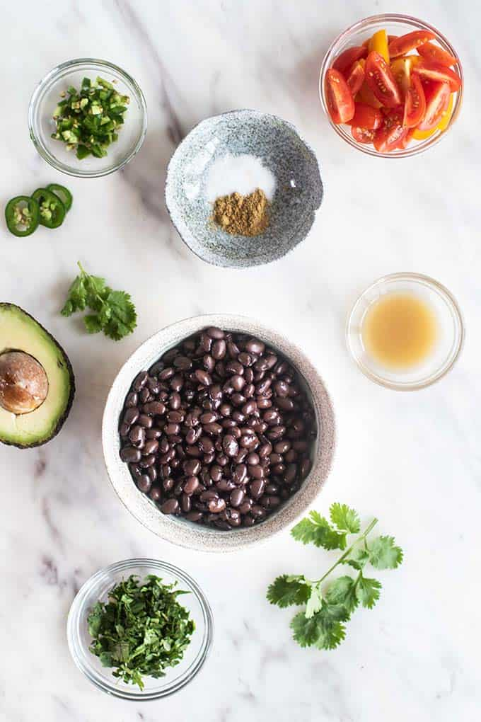 The ingredients for the black bean burrito filling.