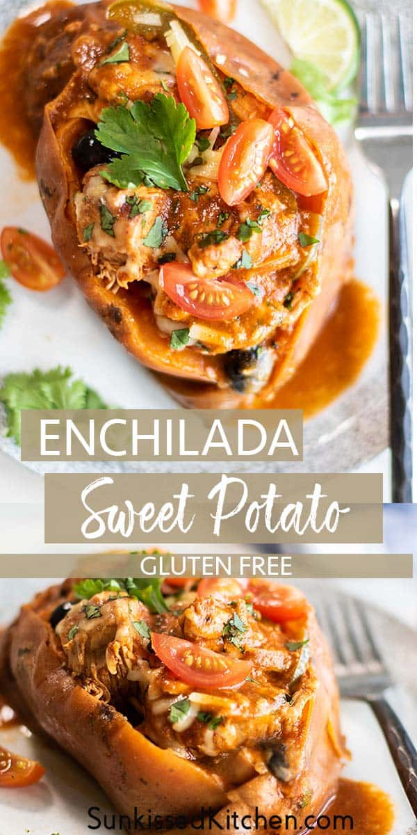 Two plates showing a top view and a side view of an enchilada stuffed sweet potato.