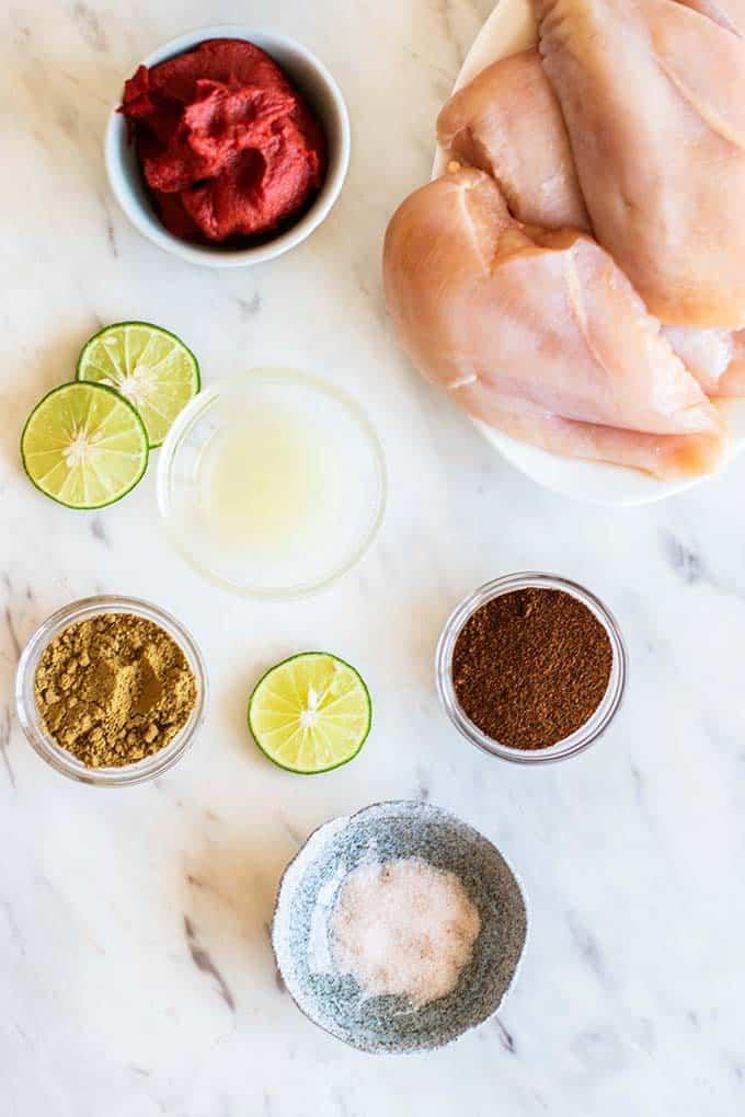 The ingredients for crockpot enchilada chicken.
