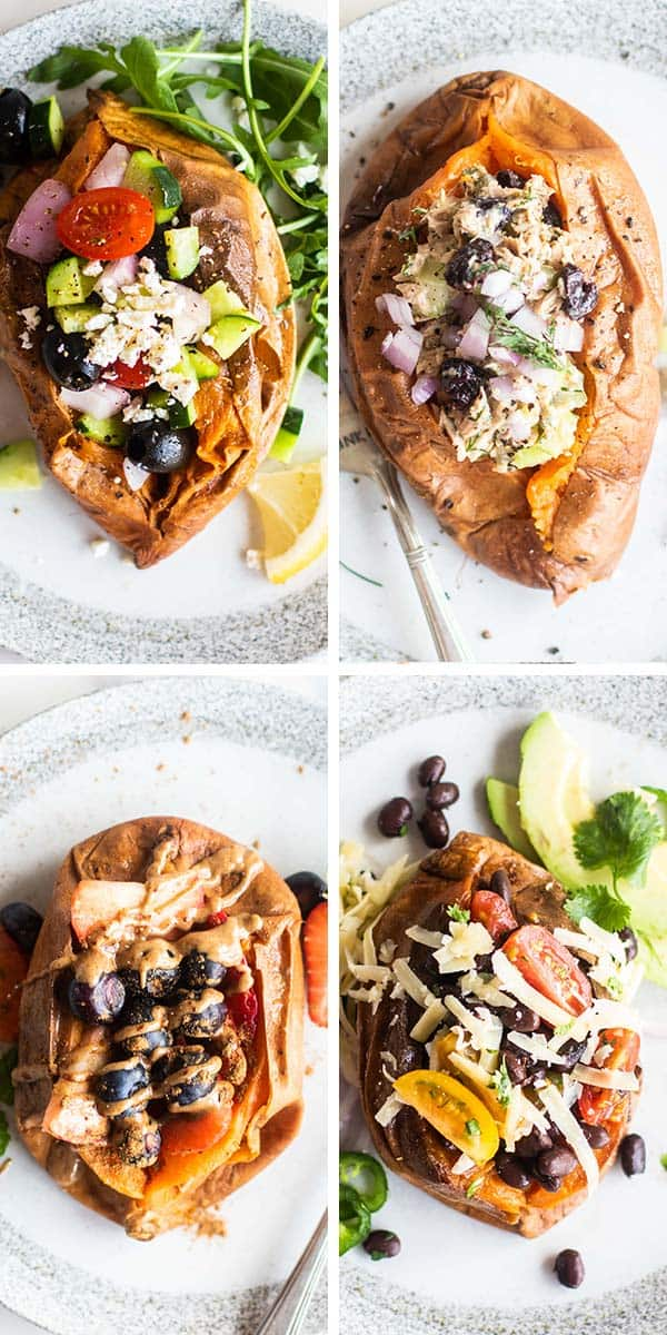 4 close up of stuffed sweet potatoes with different fillings.