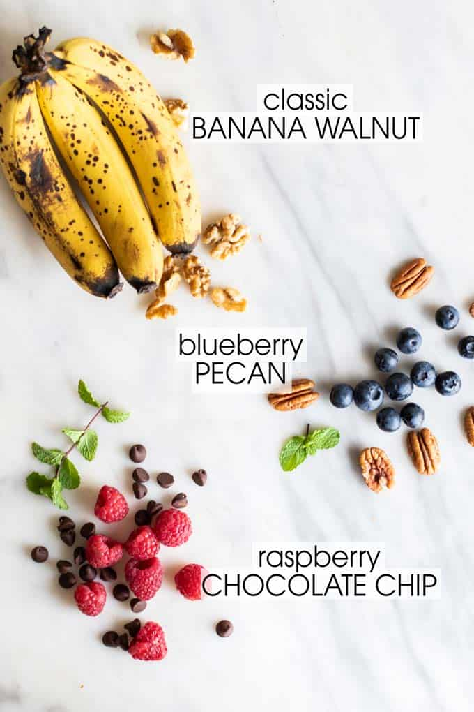 Optional flavor additions for gluten free banana bread.
