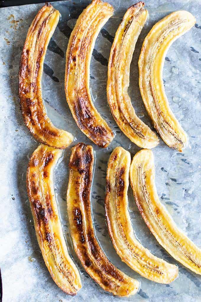 A sheet pan with caramelized bananas.
