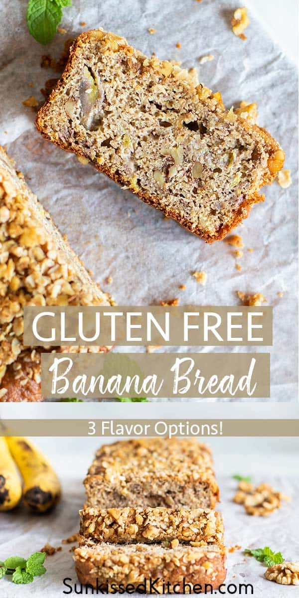 Two images showing loaves of gluten free banana bread cut into pieces.