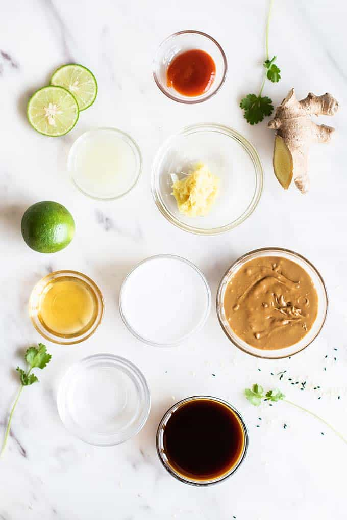 The ingredients for the nutty Sunbutter and coconut thai noodle sauce.