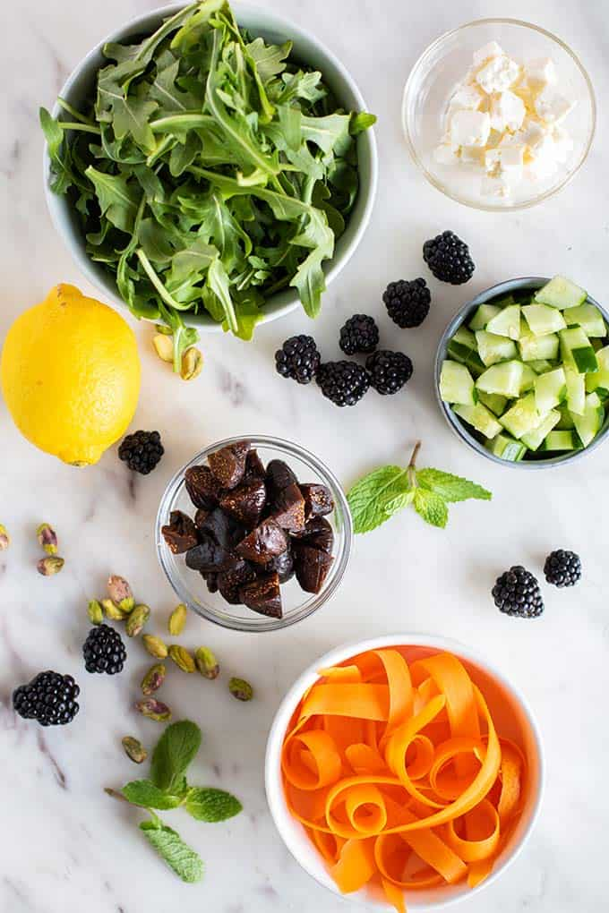 The ingredients for a blackberry fig salad.