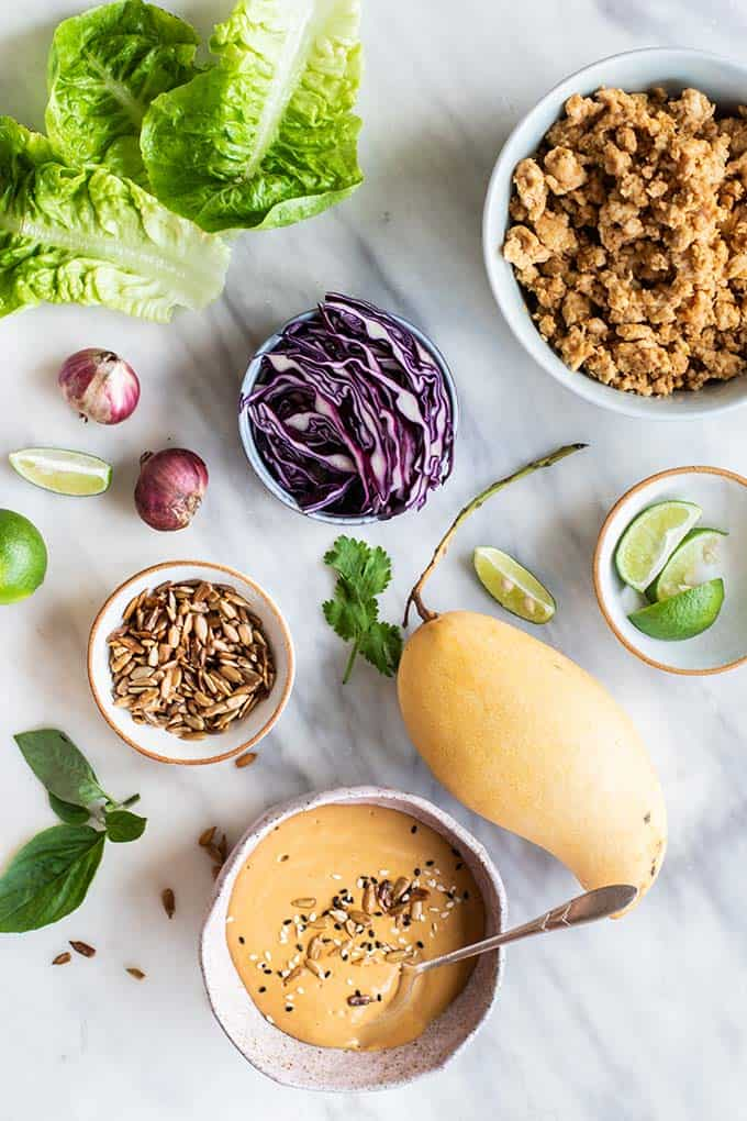The ingredients for lettuce wraps.