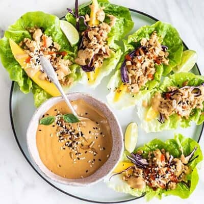 A white plate with chicken lettuce wraps and a bowl of Thai dipping sauce.