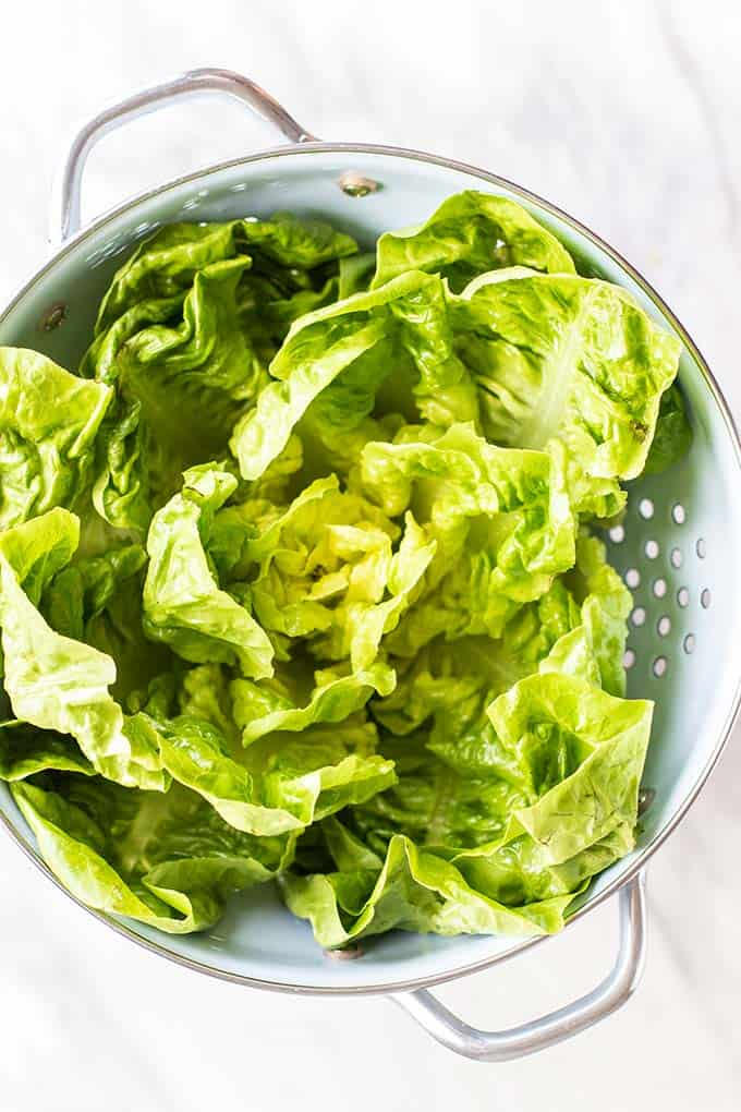 Large lettuce leaves drying in a colander.