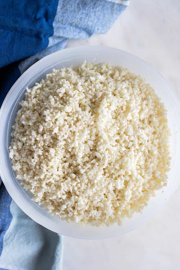 A bowl of cauliflower rice.