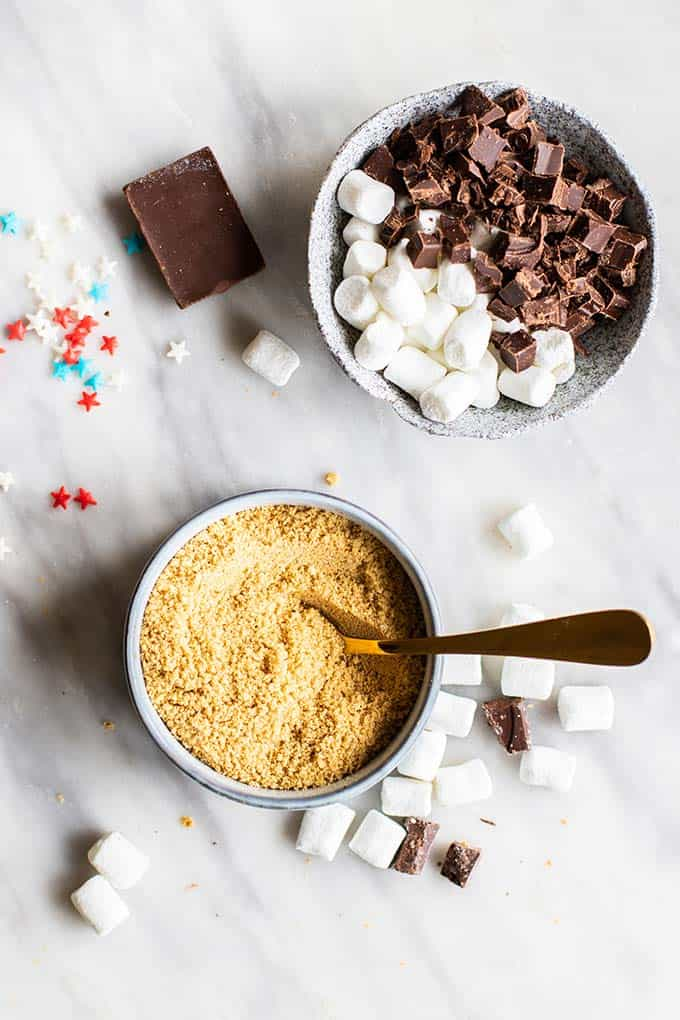 A bowl of chopped chocolate, marshmallows, and graham cracker crumbs.