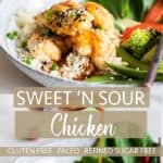 To images showing gluten free sweet and sour chicken with a homemade sweet and sour sauce, served with baked vegetables.