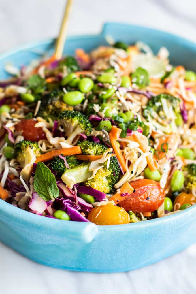 A close up of a tossed Asian Slaw.