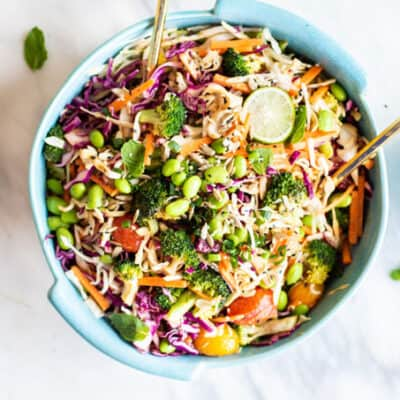 Asian Cabbage Salad with Roasted Broccoli