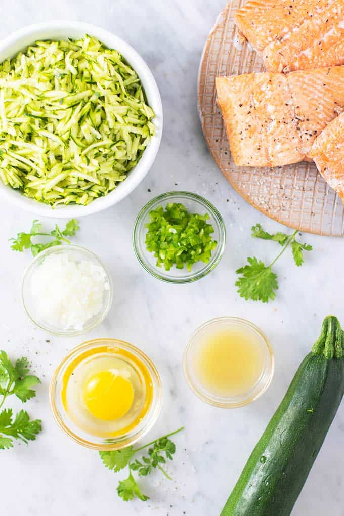 The ingredients for zucchini salmon patties prepared.