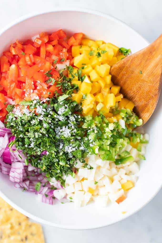 A close up of the ingredients in a white bowl.