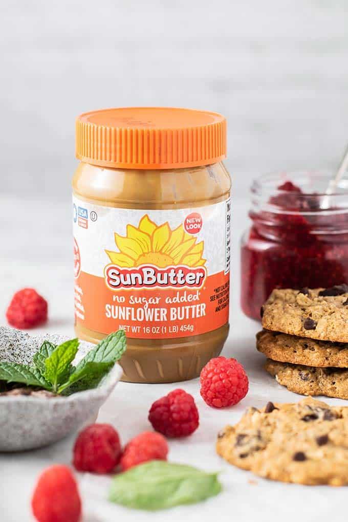 SunButter and raspberry chia jam.