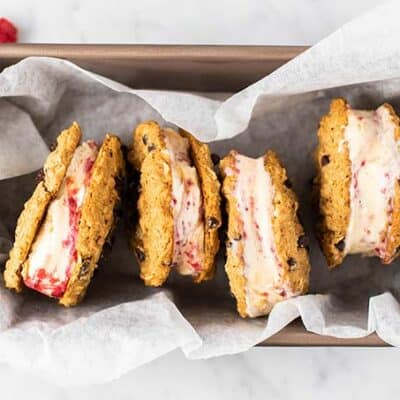 Oatmeal Cookie Ice Cream Sandwiches in a tray.