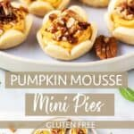 A plate of mini pumpkin pies with pecans and and overhead shot of a plate of mini pumpkin pies.