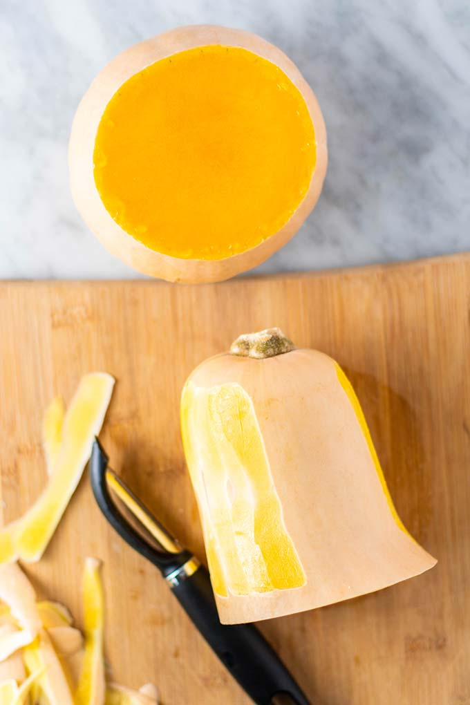 How to cut and peel a butternut squash.