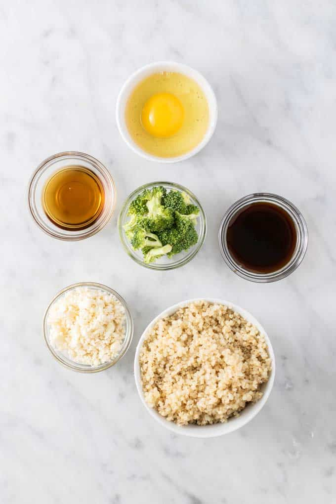 The ingredients for a simple quinoa fried rice.