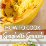 A fork pulling thin strands from a spaghetti squash, and a plate piled high with squash.