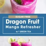 Two images showing how to make and garnish this healthy drink.