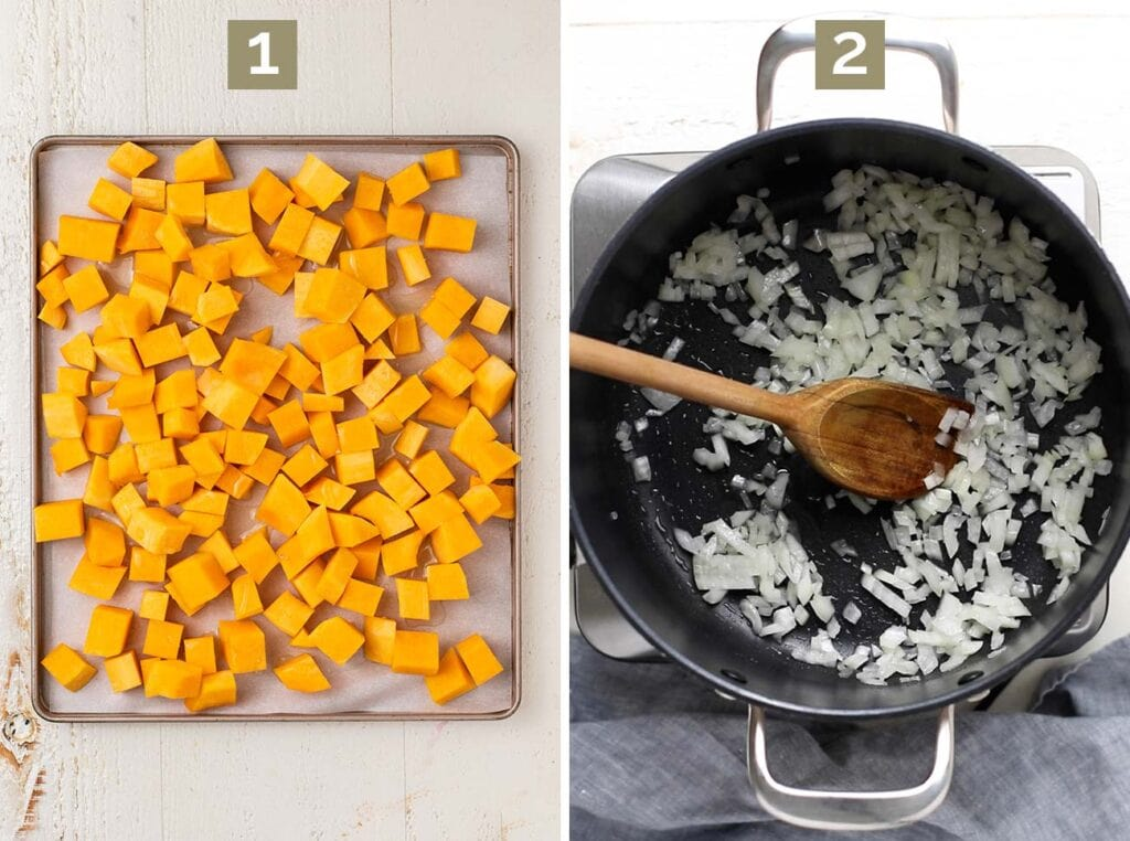 Step 1 shows to roast the butternut squash, and step 2 shows to saute the onions.